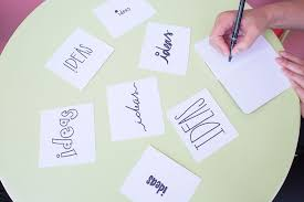 """Image of a table from above, with a hand writing several signs that say the word """"ideas"""" in different styles of lettering."""